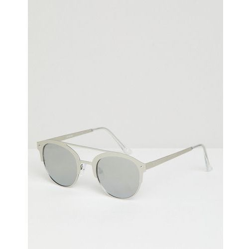 design retro sunglasses in brushed silver metal with silver mirrored lens - silver marki Asos