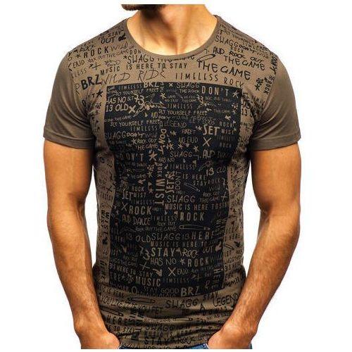 T-shirt męski z nadrukiem khaki Denley 1173