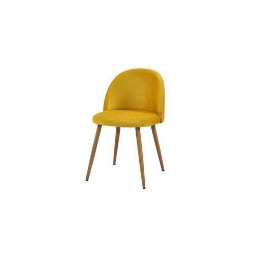 krzesło SONG plaster miodu/ żółty/ noga dąb, kolor żółty