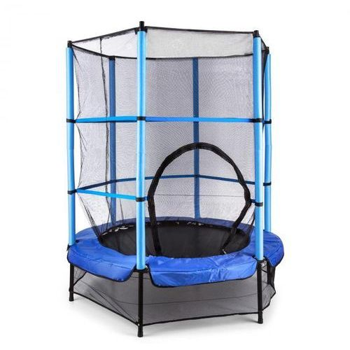 Klarfit rocketkid trampolina 140 cm siatka bezpieczeństwa wewnątrz, sprężyny bungee, niebieska (4260395866636)