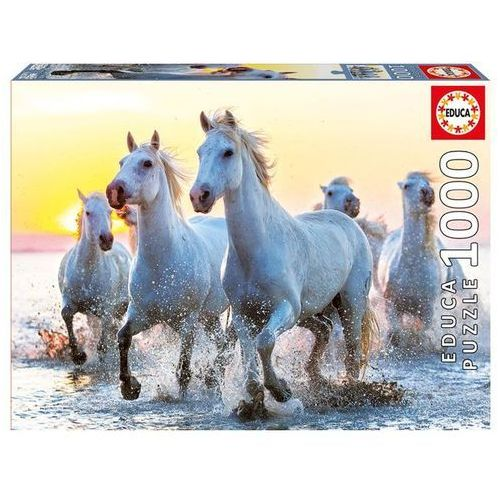 Educa Puzzle 1000 elementów, white horses at sunset (8412668171053)