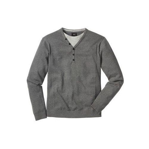 Sweter 2 w 1 Regular Fit bonprix szary melanż
