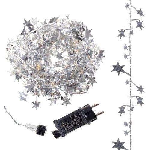 Springos Lampki dekoracyjne 120 led kurtyna w gwiazdy 2m biały ciepły (5907719401348)