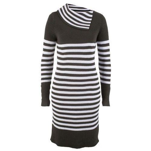ffb5fc2375 Sukienka dzianinowa z golfem antracytowo-biały w paski marki Bonprix