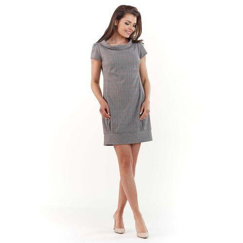 Mini Sukienka w Delikatną Kratkę ze Ściągaczem, kolor szary
