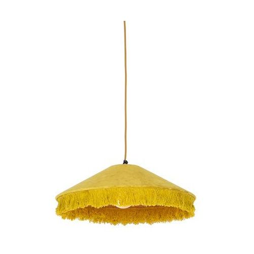 Qazqa Retro lampa wisząca welur żółta frędzle - frills