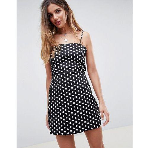 Glamorous 90'S cami dress with tie back in polka dot - Black