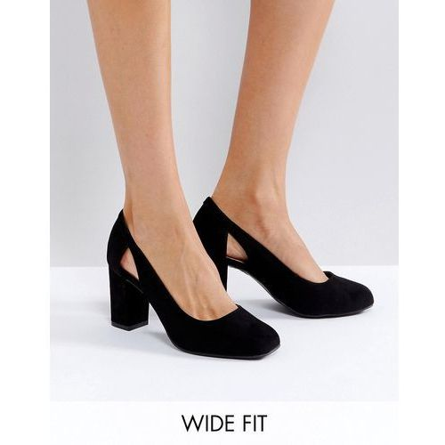 wide fit suedette cut out block heeled court shoe - black marki New look