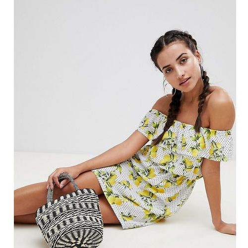 Missguided exclusive lemon and polka dot bardot dress - white