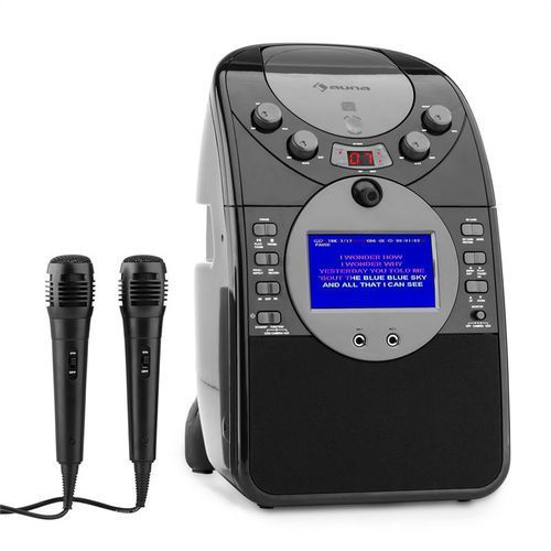 auna ScreenStar Zestaw karaoke Kamera CD USB SD MP3 z 2 x mikrofon czarny