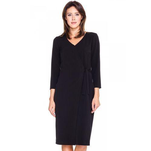 Czarna sukienka z kopertowym wiązaniem - SU, kopertowa