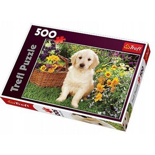 Puzzle 500 Labradorek w ogrodzie TREFL