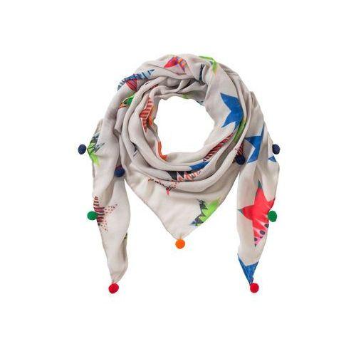 Chusta trójkątna w gwiazdy piaskowo-czerwono-pomarańczowo-zielono-niebieski marki Bonprix