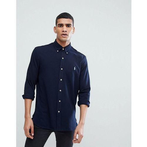 Polo ralph lauren slim fit pique shirt solid player stretch in navy - navy