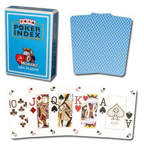 Modiano mini 4 rogi 100% karty plastikowe - jasno niebieskie (8003080205374)