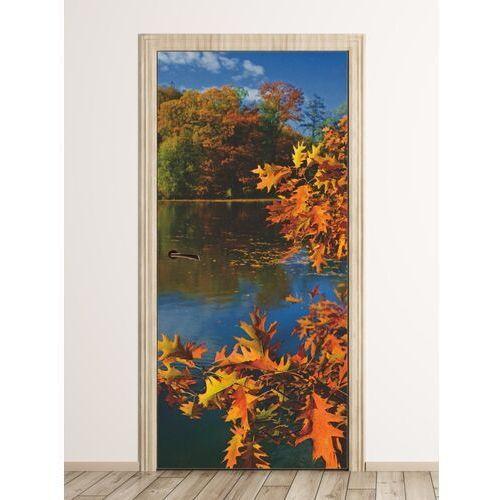 Wally - piękno dekoracji Fototapeta na drzwi jesienne liście na tle jeziora fp 6080
