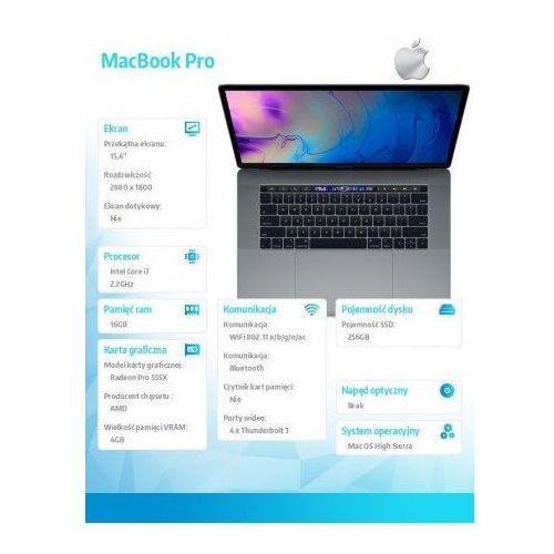 macbook pro intel core i7/16gb/256gb ssd/radeon pro 555x/15.4''/ios szary mr932ze/a marki Apple