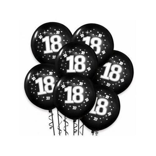 """Balony pastelowe z nadrukiem """"18"""" - czarne - 30 cm - 100 szt. marki Dp"""