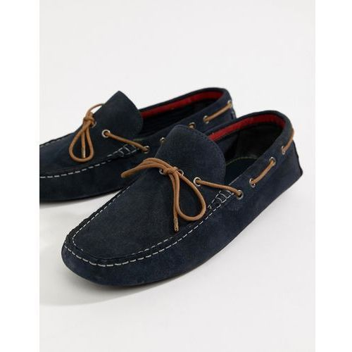 River Island Suede Drivers With Stitch Detail In Navy - Navy