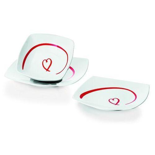 Komplet talerzy dla 2 osób Love, prostokątne
