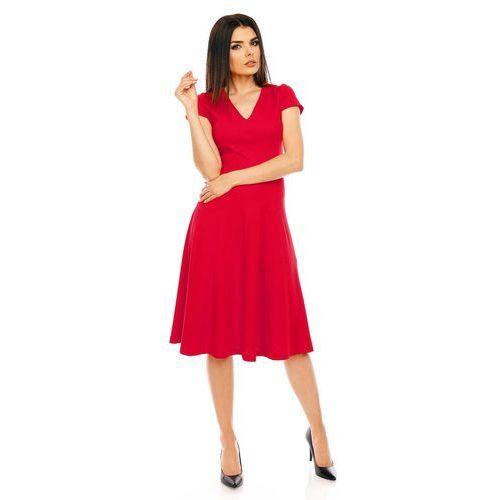 Czerwona Elegancka Rozkloszowana Sukienka z Mini Rękawkiem, NA474re