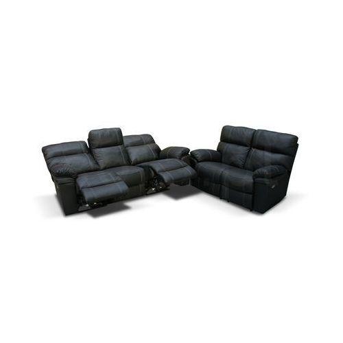 Valetta - Sofa 3 relax elektryczna + Sofa 2 - antracyt, kolor szary