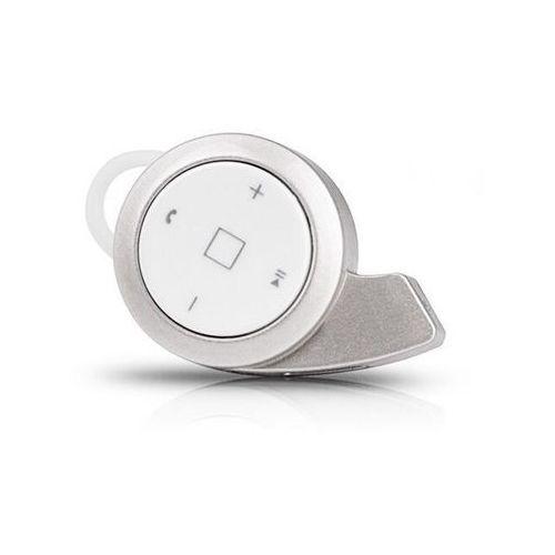 Mini słuchawka bluetooth stereo mini na dwa telefony srebrna - srebrny marki 4kom.pl