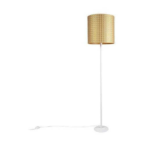 Nowoczesna lampa podłogowa biała z kloszem złotym wytłaczane trójkąty 40cm - simplo marki Qazqa