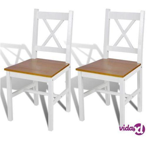 vidaXL Krzesła do jadalni, 2 szt., drewniane, kolor biały i naturalny (8718475903482)