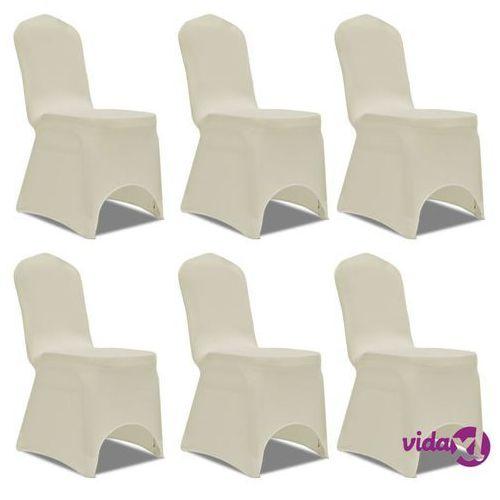 Vidaxl kremowy elastyczny pokrowiec na krzesło, 6 szt. (8718475884224)