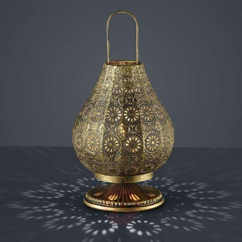 Trio Stojąca lampka nocna jasmin 503700104 orientalna lampa ażurowa mosiądz