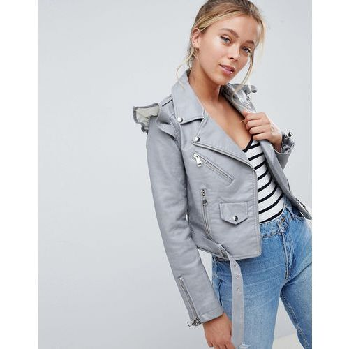 Parisian Faux Leather Jacket With Frill Detail - Grey, kolor Grey