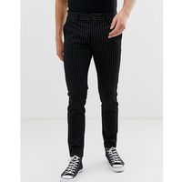 slim tailored trouser with pinstripe detail - black marki Only & sons