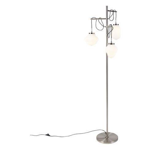 Stalowa lampa podłogowa w stylu art deco z mlecznym szkłem 3-punktowa - bolsena marki Qazqa