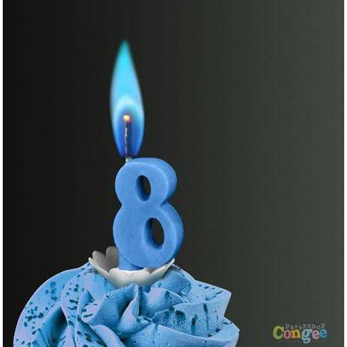 """Sens Świeczka cyferka ósemka """"8"""" z niebieskim płomieniem - 1 szt."""