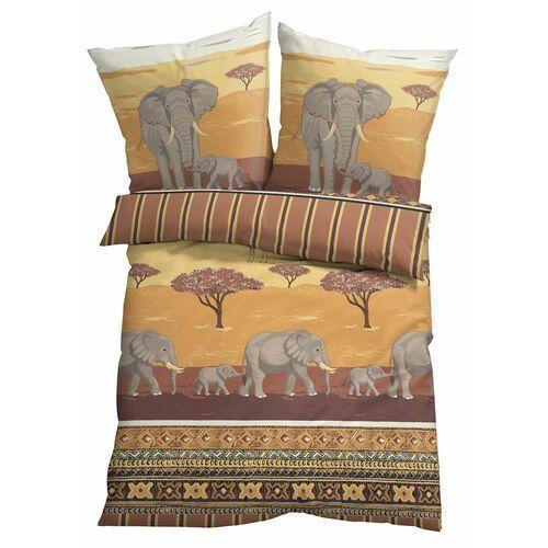 Pościel z nadrukiem w słonie brązowy marki Bonprix