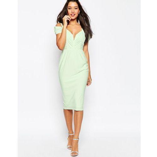 ASOS Drape Cold Shoulder Midi Pencil Dress - Green, kolor zielony