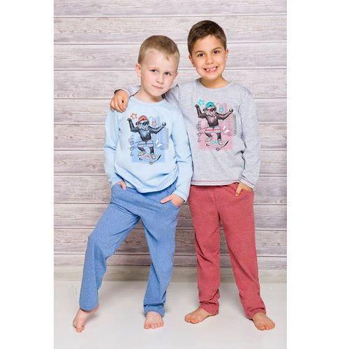 Piżama Taro Nataniel 1169 dł/r 122-140 N 128, szary jasny-bordowy melange, Taro, kolor szary