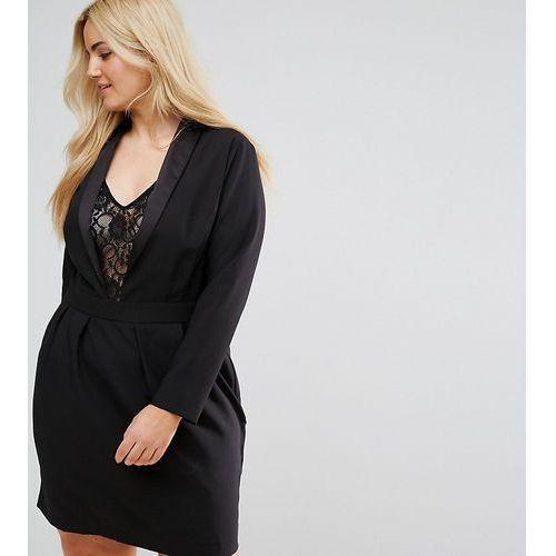 tux dress with lace insert - black marki Asos curve