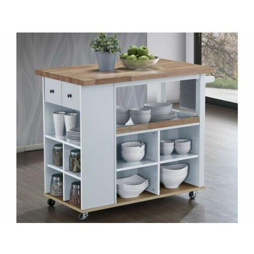 Barek kuchenny na kółkach HANNAE – 2 szuflady i 1 półka – Drewno kauczukowe – Kolor biały i dębowy