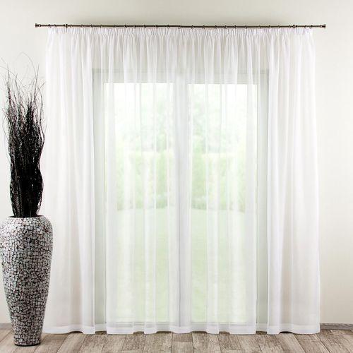Dekoria Firana woalowa na taśmie 300x260cm, biały, 300 × 260 cm, Woale, kolor biały