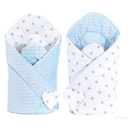 MAMO-TATO Zabawka Dwustronny Rożek minky dla lalek Gwiazdki szare na bieli / błękit