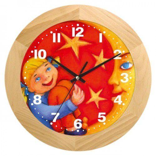 Zegar drewniany dziewczynka z księżycem