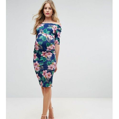 tall half sleeve bardot dress in palm print floral - navy marki Asos maternity