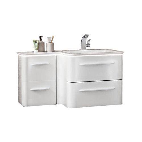 Lanzet Komplet szafka łazienkowa z umywalką 100 cm ekko - biały wysoki połysk \ 102 cm \ tak
