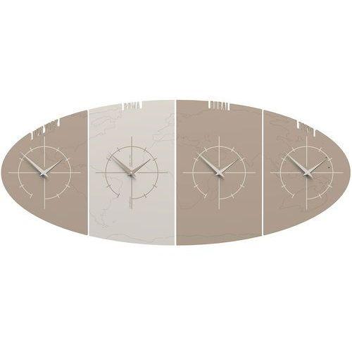 Zegar ze strefami czasowymi do biura Sydney CalleaDesign caffelatte (12-004-14), kolor brązowy