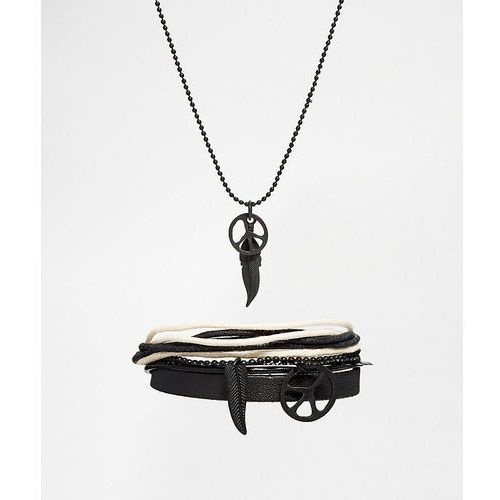 Asos necklace and bracelet pack with peace and feather in black - black