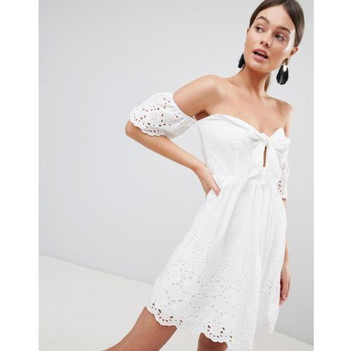 off shoulder broderie dress with bow - white marki Parisian