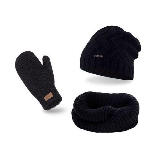 Komplet PaMaMi, czapka, komin i rękawiczki - Czarny - Czarny (5902934055338)