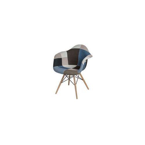 Krzesło P018W patchwork niebiesko-szary podstawa DAW, kolor niebieski